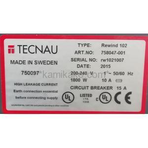 "Tecnau Roll 102(検査用巻取機) ""アンワインド52(Unwind 52)+リワインド102(Rewind 102)"" TECNAU社 製"